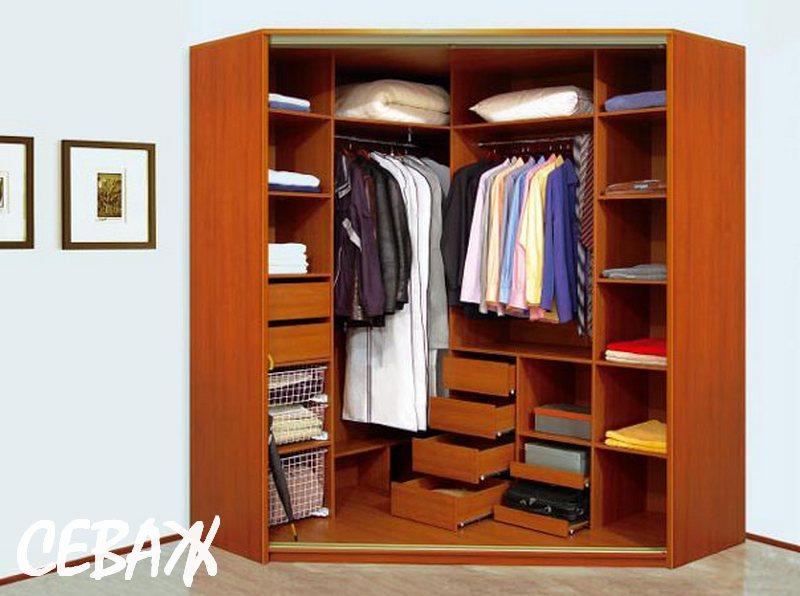 Угловой шкаф для одежды, особенности и варианты оформления ф.